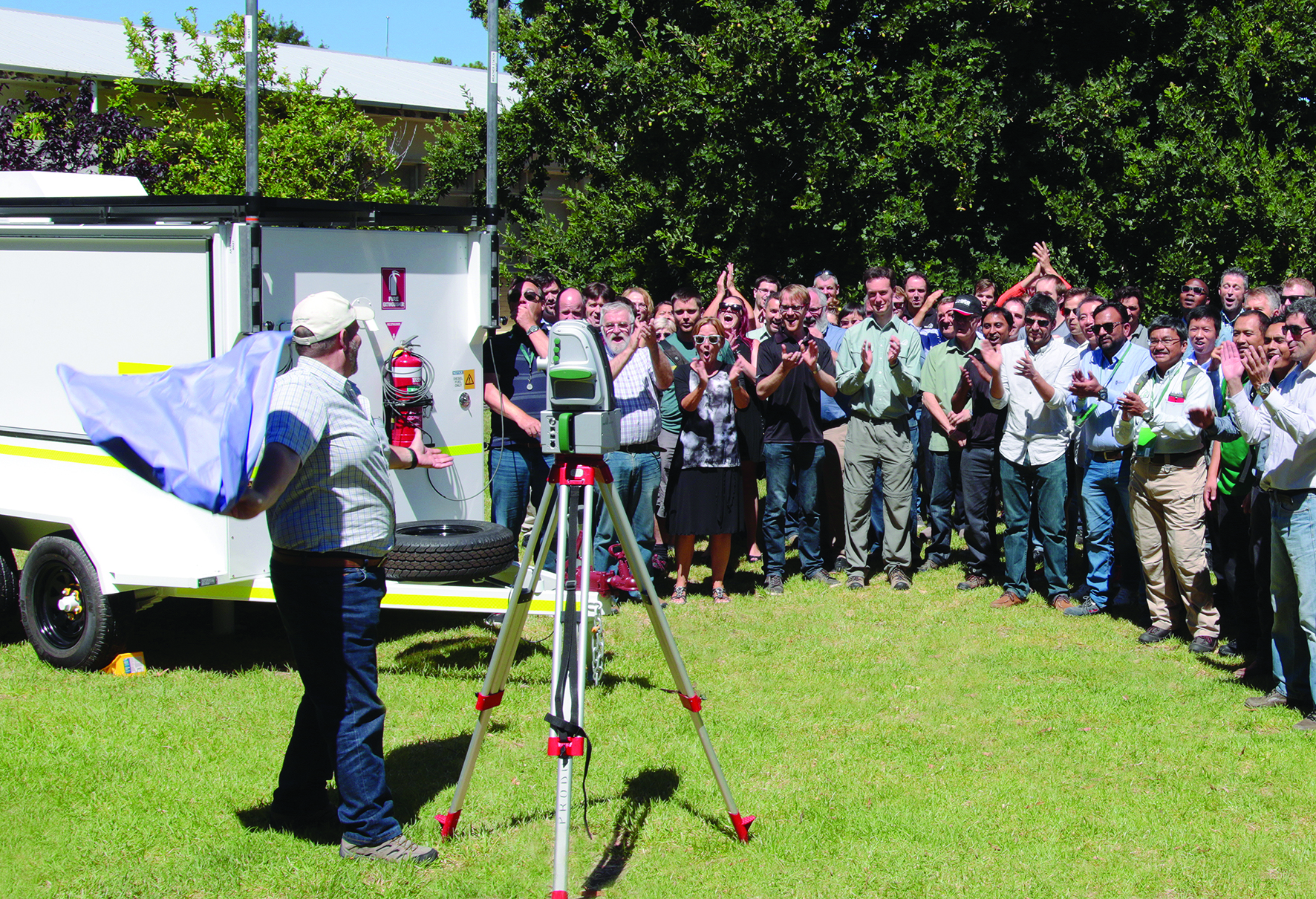 I-Site Research and Development manager, James Howart, unveils the new I-Site XR3 laser scanner at the Maptek manufacturing facility in Australia in February.