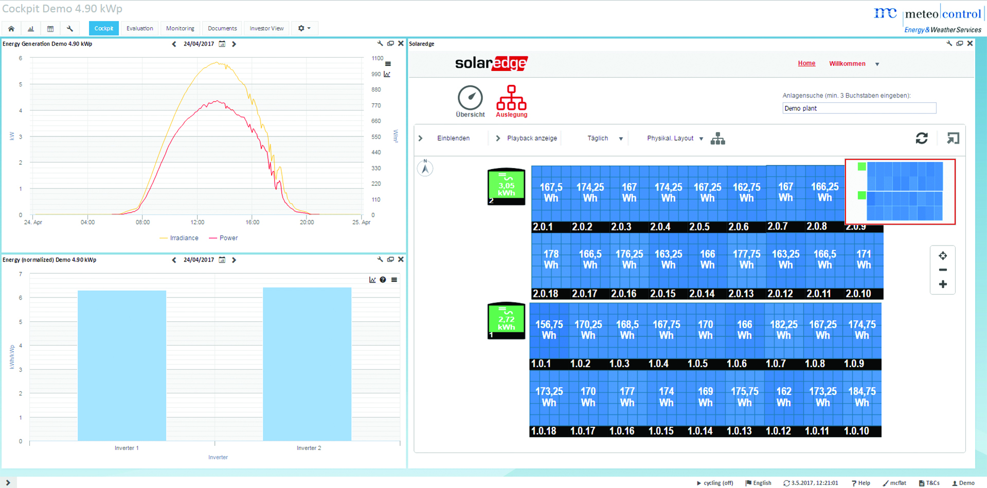7e1578f7c4 The newly developed portlet in the VCOM virtual control room now visualises  the measured values from SolarEdge s module-level monitoring platform.