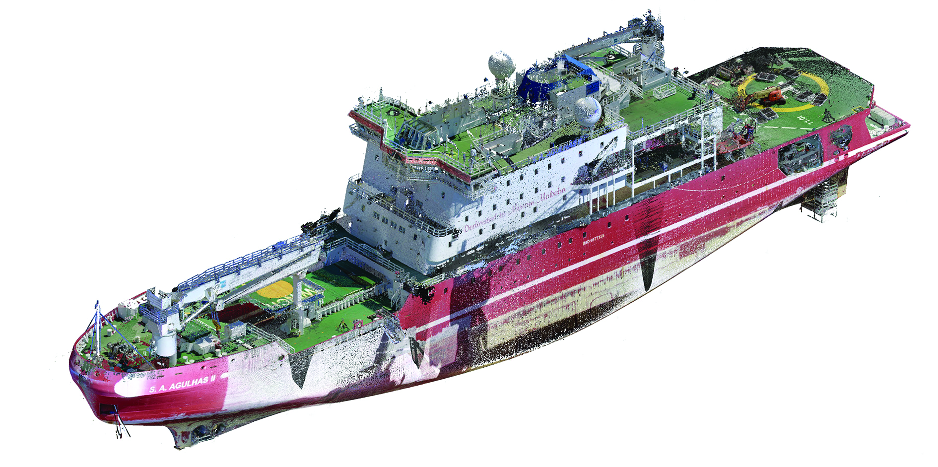Point cloud of the SA Agulhas II with a colourised photographic overlay.