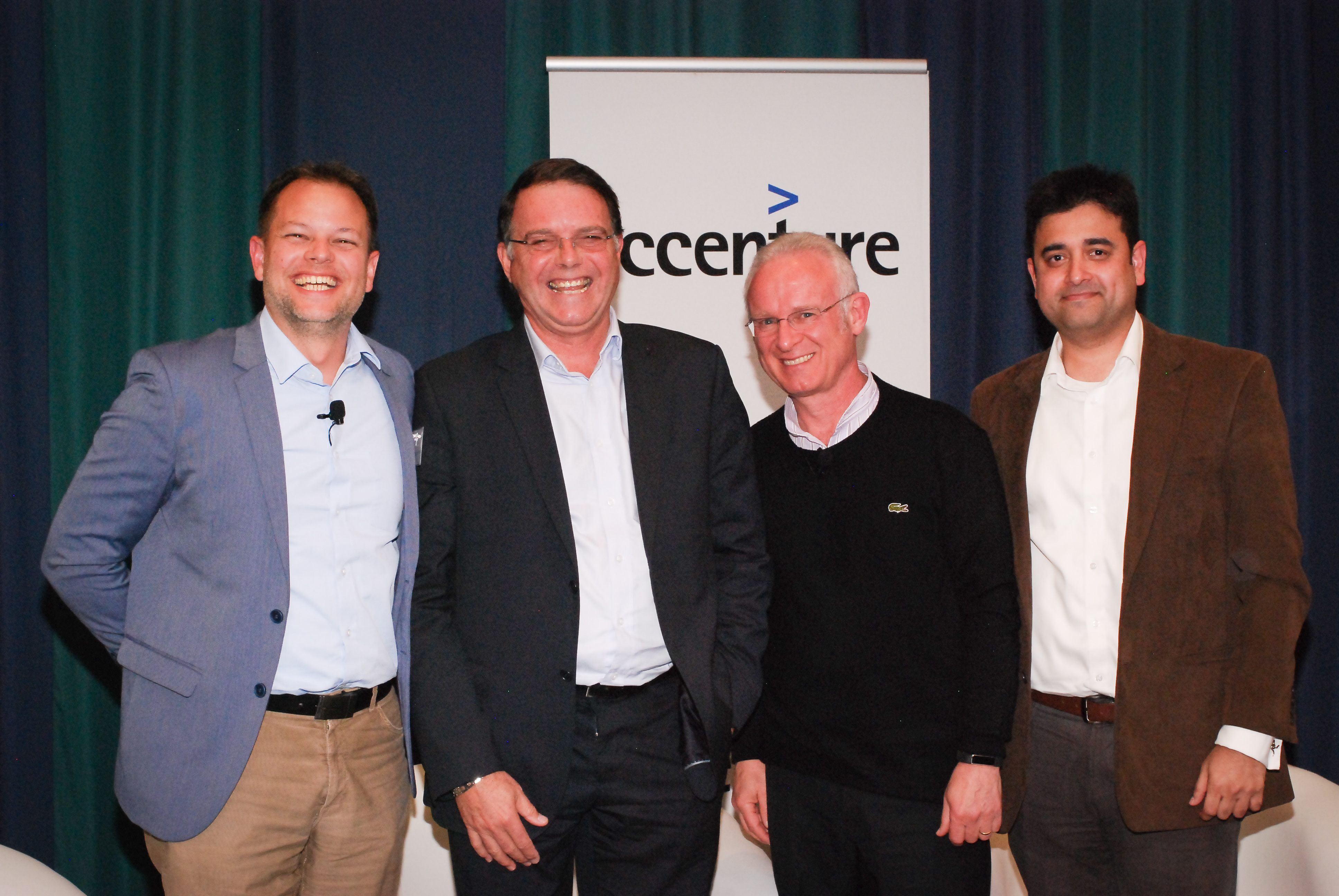 Panellists Rory Moore, Bradley Coward, Arthur Goldstuck and Pushkar Gokhale.