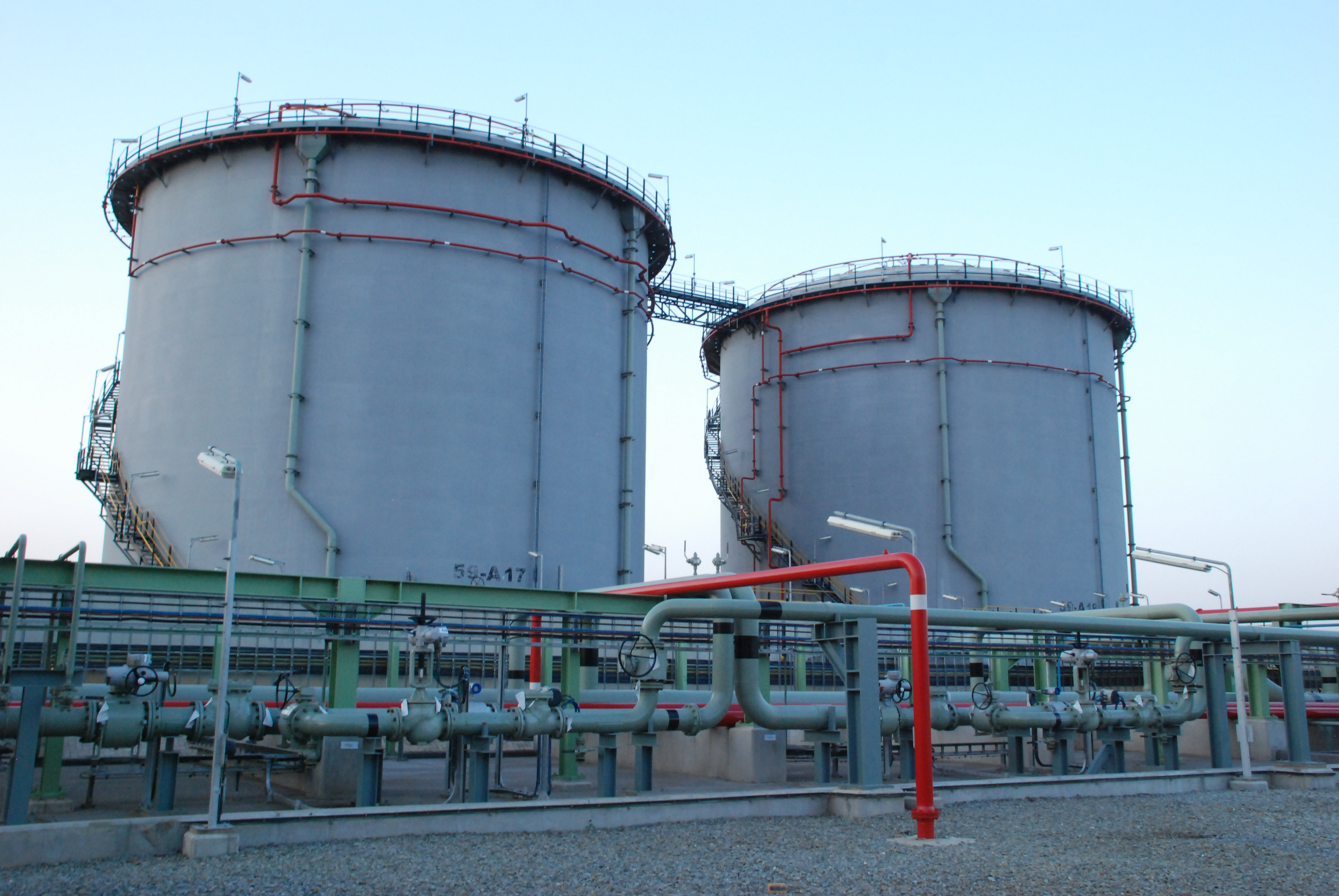 Fig. 1: Two of the smaller, 10-million litre accumulation tanks at the Jameson Park inland accumulation facility.