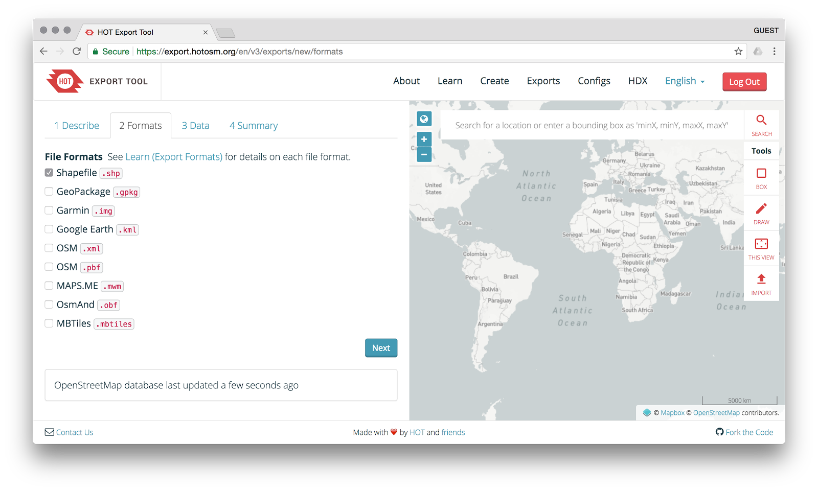 Create custom open map data extracts - EE Publishers