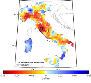 Soil moisture in Italy during early August 2017 was particularly low in some areas (red).