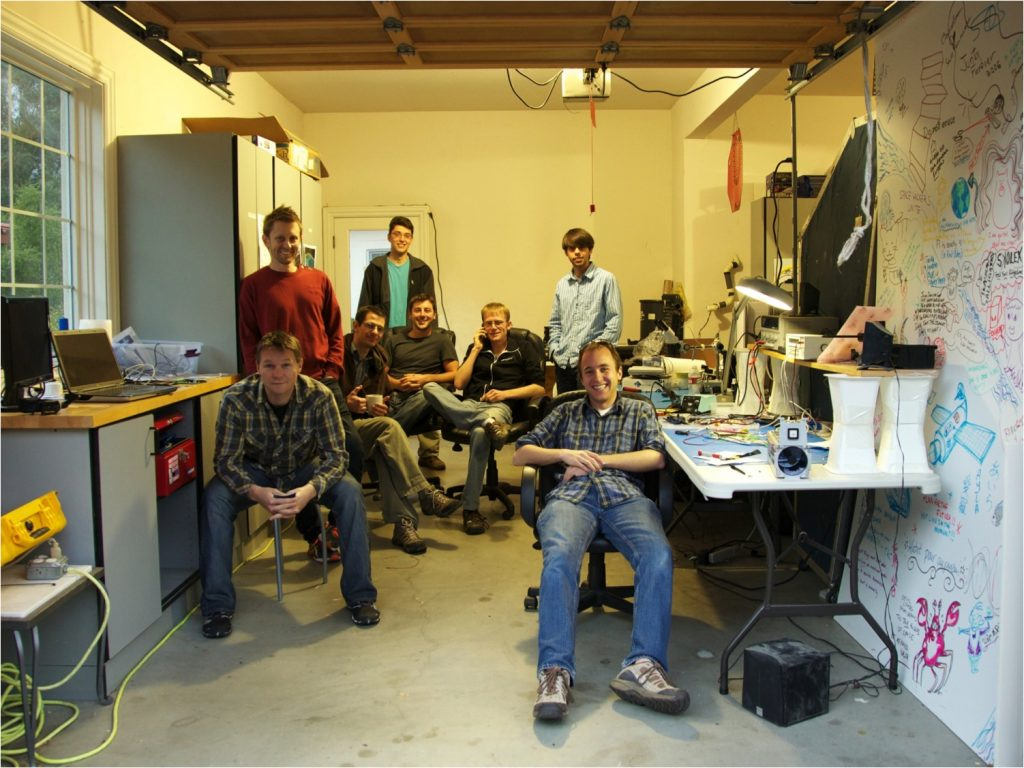 The founding team in the garage in Cupertino, where it all began.