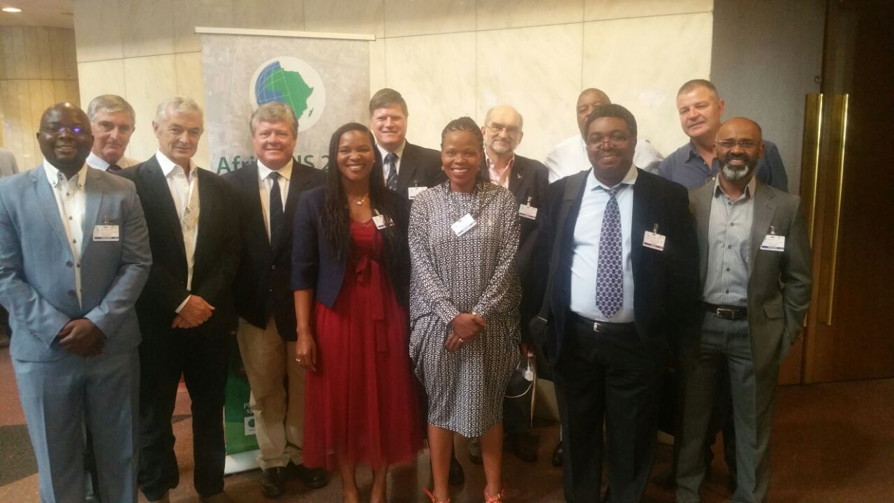 The South African delegation at the AfricaGIS 2017, including SANSA, NGI, CSIR, Esri South Africa, DigitalGlobe, and Swaziland National Mapping Agency.