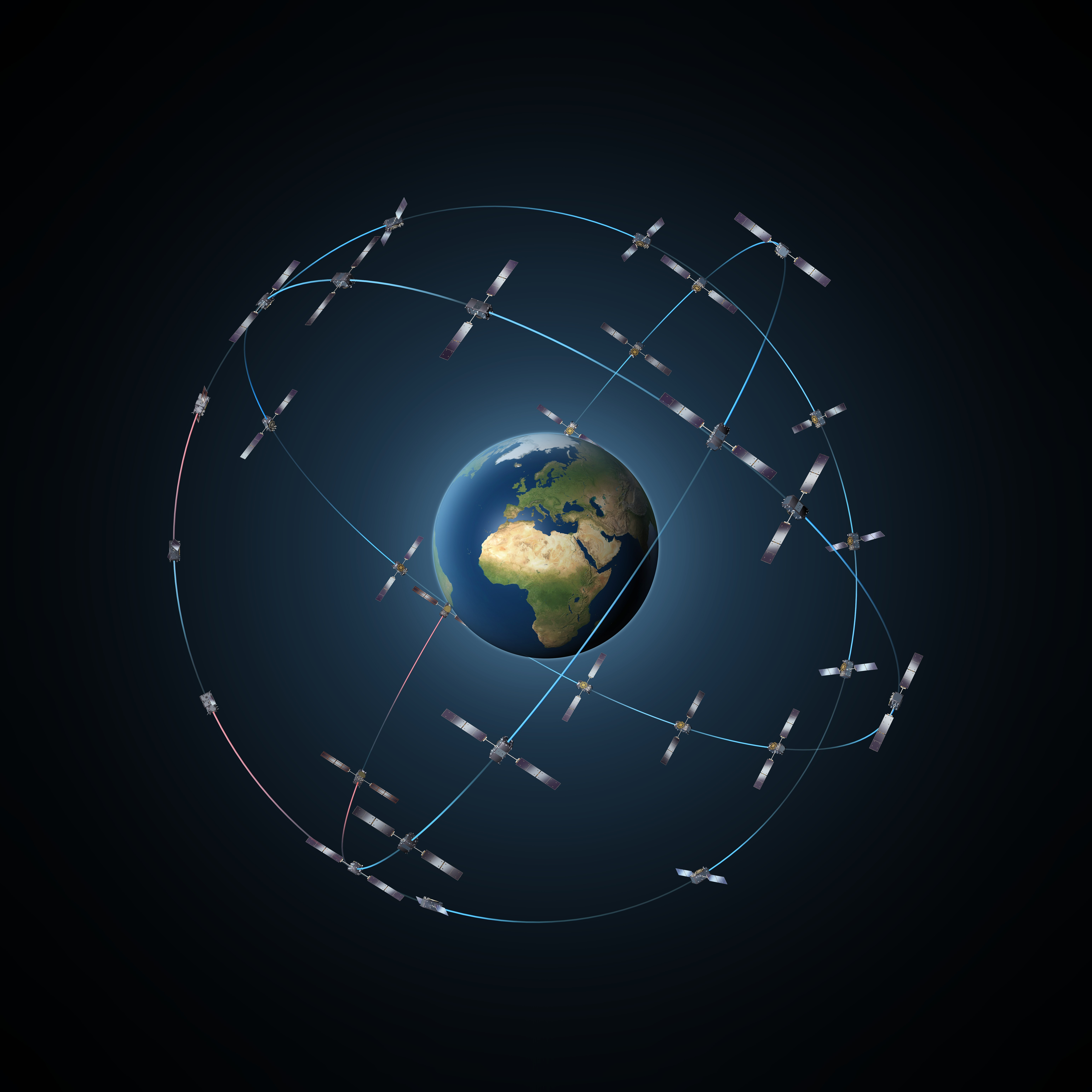 The complete Galileo constellation will consist of 24 satellites along three orbital planes, plus two spare satellites per orbit.