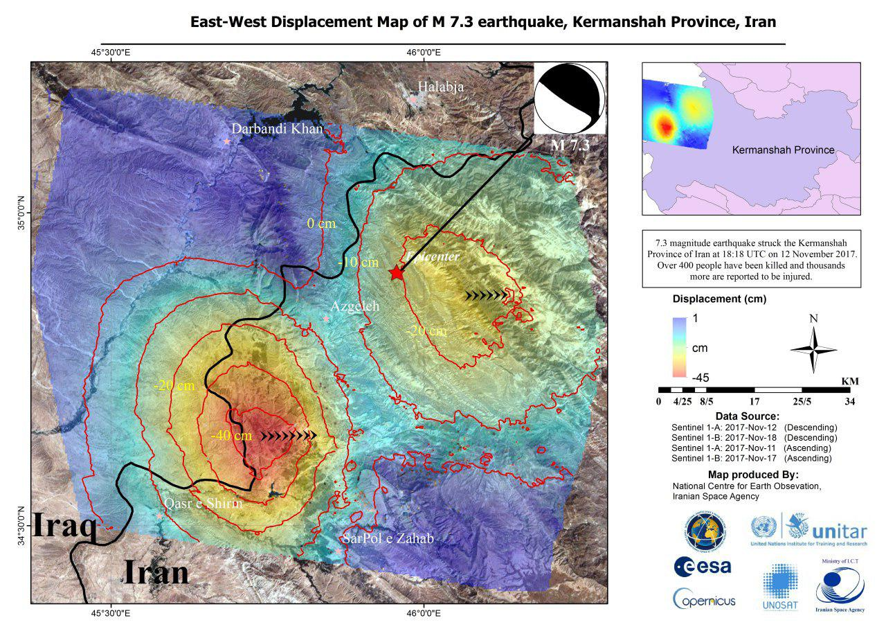 Sentinel-1 data were used to generate a map of east–west ground displacement after a 7,3-magnitude earthquake struck the Kermanshah Province of Iran on 12 November 2017.