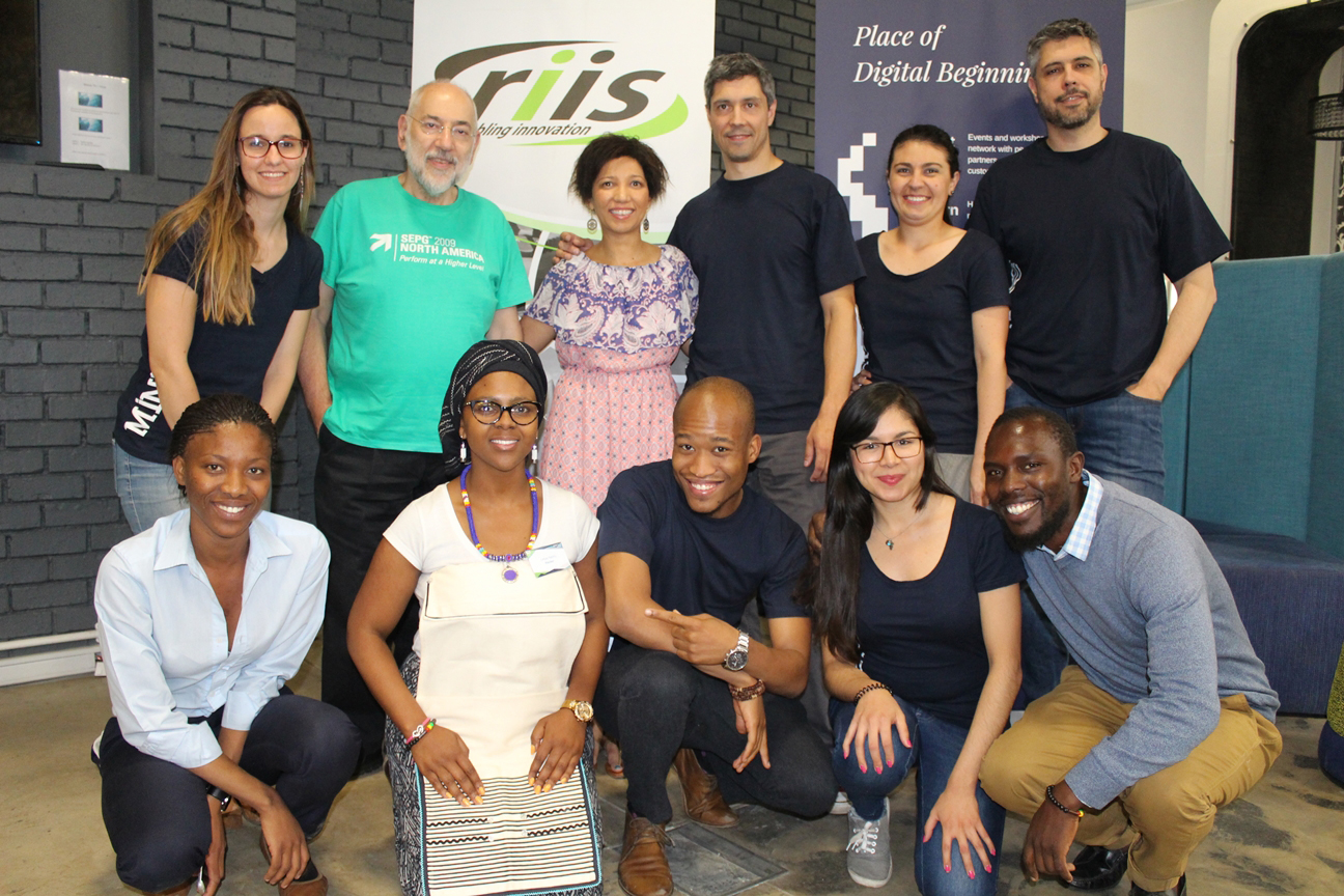 The winning team with the organising team from Tshimologong Digital Innovation Precinct and RIIS.