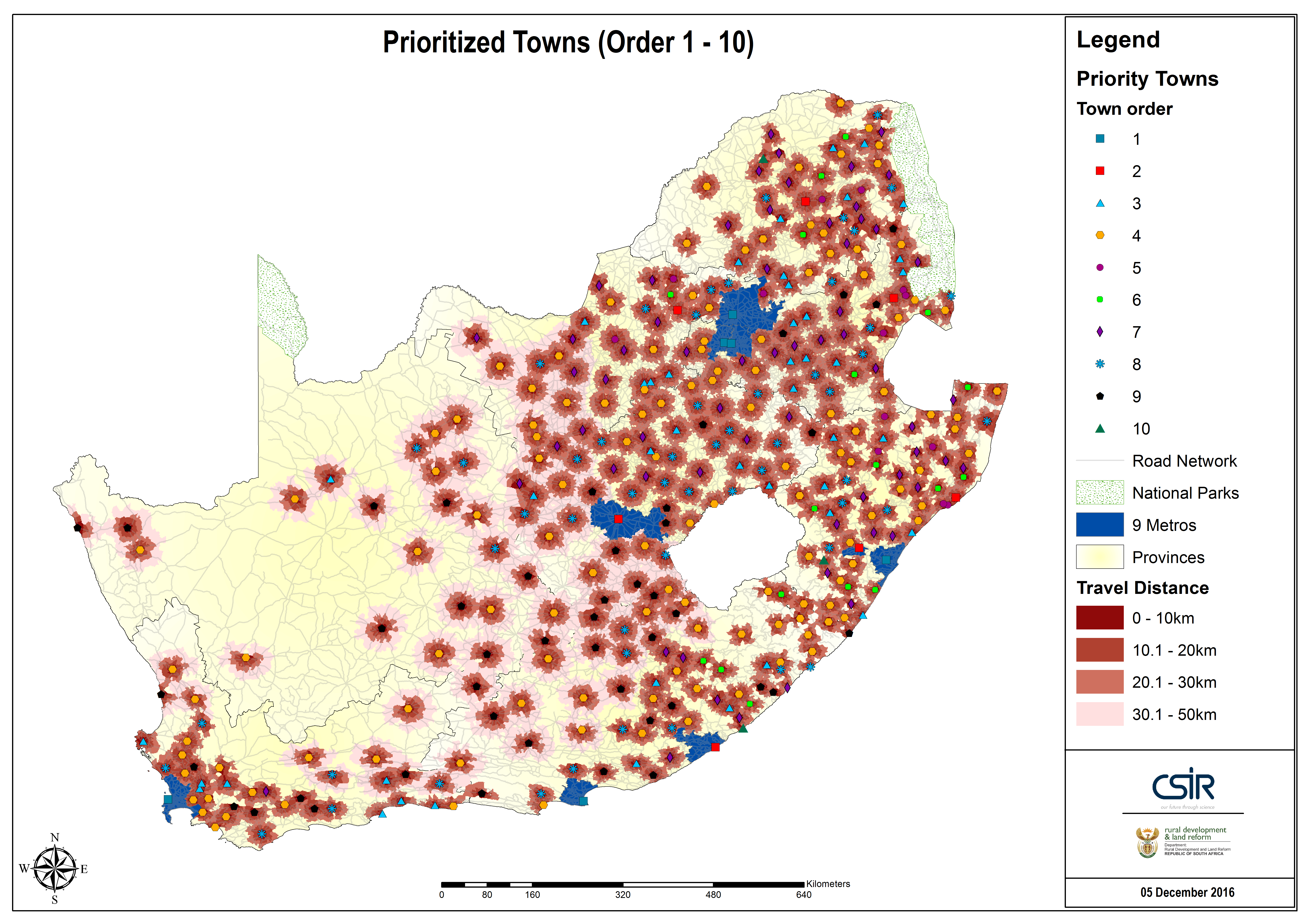 Fig. 1: Prioritised towns by catchment orders showing service coverage for middle order services (travel distance bands within acceptable standards) [3].