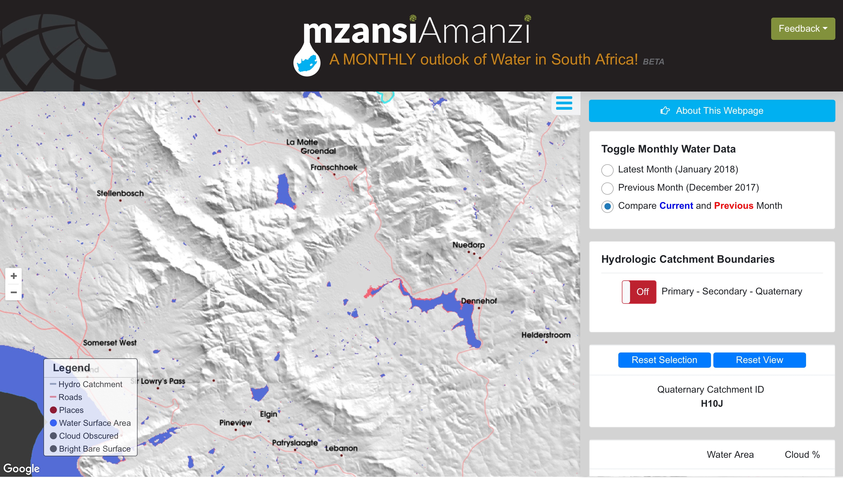 Fig. 1: The Mzansi Amanzi monthly water monitoring service website.