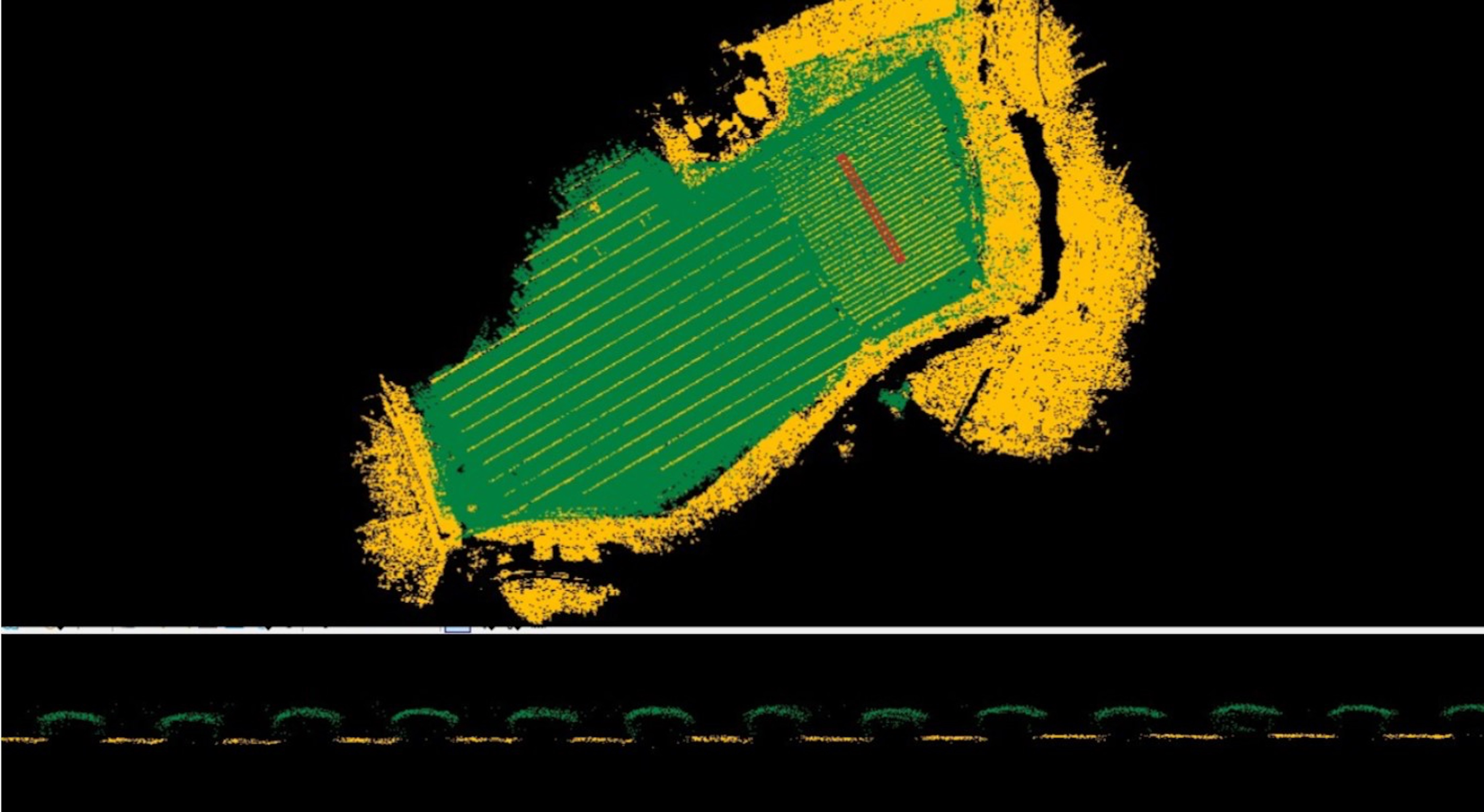 Fig. 5: Classified lidar for crop analytics (top) and profile view of crops from indicated are (red profile line in top view).