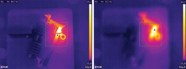 Fig. 2: Focused thermal image (left) with a maximum temperature of Tmax = 89,7°C and an unfocused thermal image (right) with a maximum temperature of Tmax = 73,7°C.
