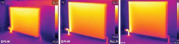 Fig. 3: The same radiator from the same distance with the same settings, taken by three different thermal cameras: the C2 (left), the T440 (middle), and the T640 (right).
