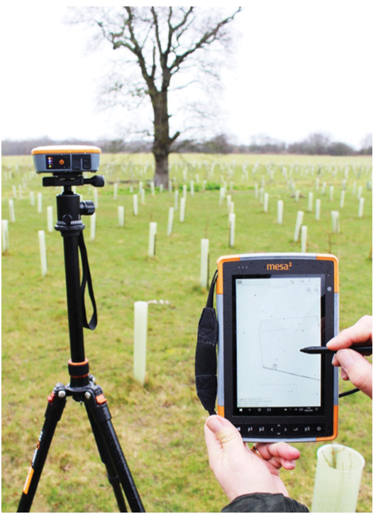 Fig. 2: The rugged tablet and GPS/GNSS receiver are used in tandem to precisely mark the perimeter, natural landmarks and burial plots throughout the park.