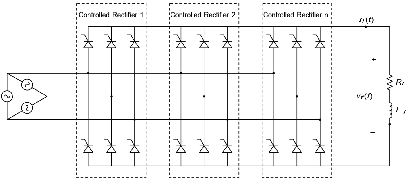 Recovery Of 430 Mva Generator Excitation System Thyristor Bank Circuit Diagram Switch Fig 1 Typical 6 Pulse Controlled Rectifier With N Parallel Paths Delta Supply