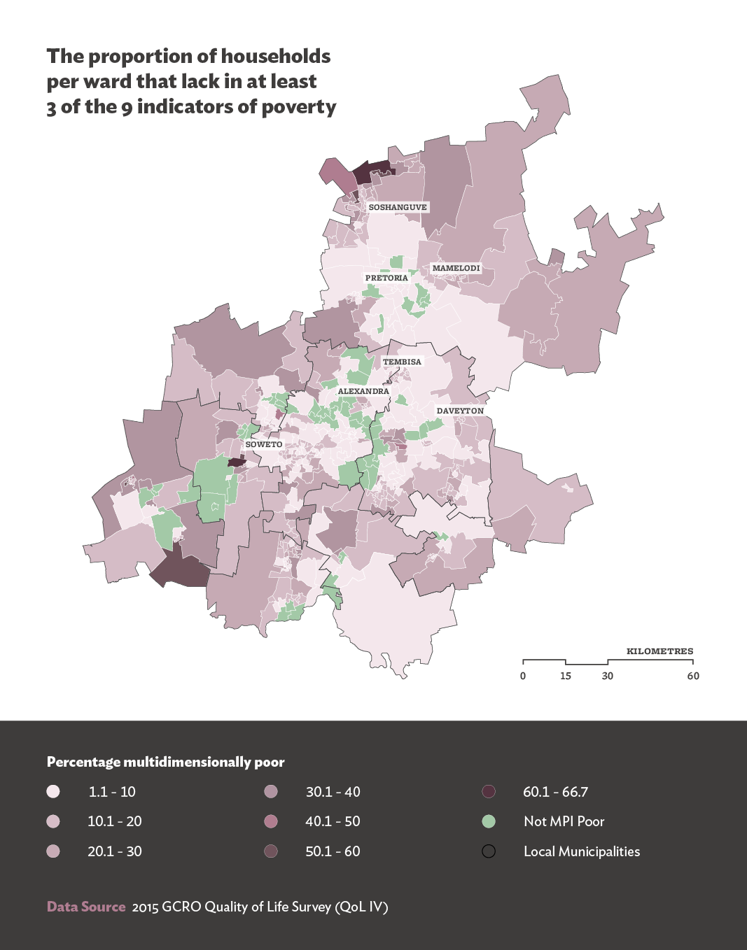 Fig. 1: The percentage of respondents per ward who were disadvantage on count of three or more of nine indicators of poverty.