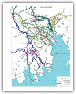 Fig. 2: Pearl River Delta, intertwined within the water network.