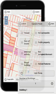 Fig. 3: The map, aerial photography and survey form were integrated in the app.