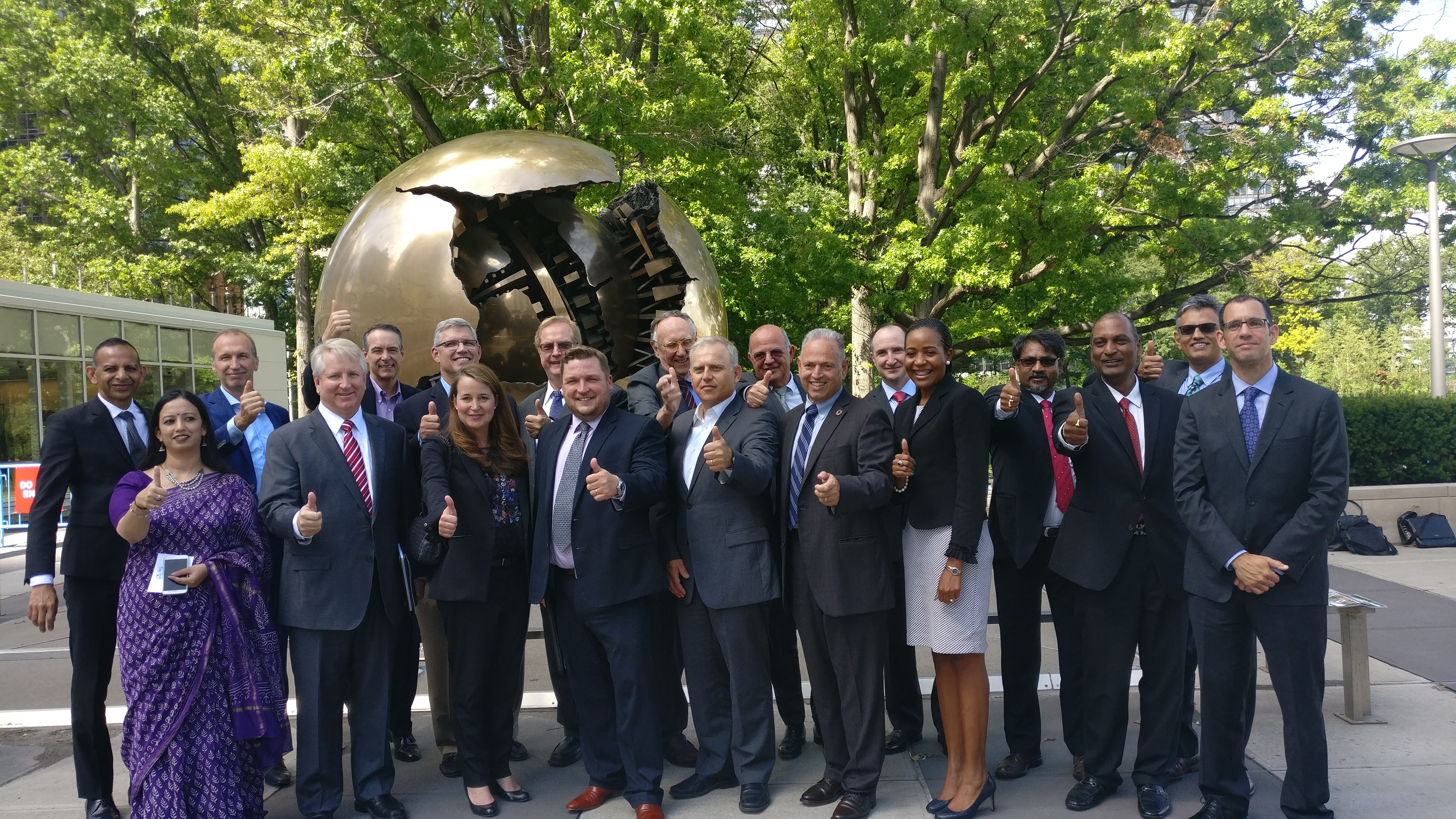 Geospatial industry leaders at the UN Headquarters in New York, after the announcement of the launch of the WGIC.