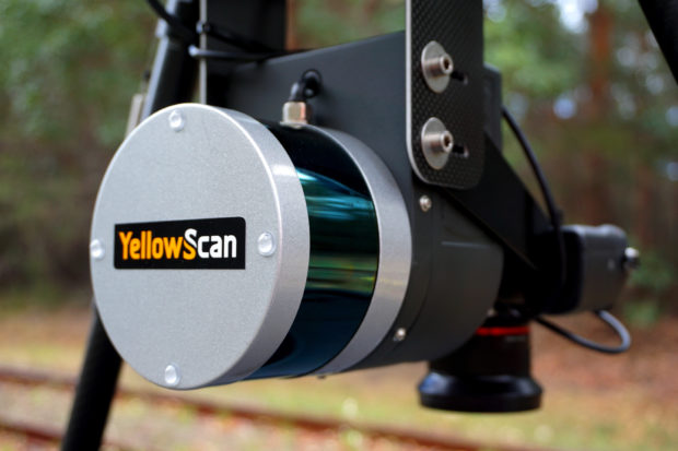 Fig. 5: The YellowScan Surveyor Ultra lidar with integrated RGB camera.