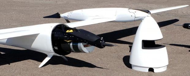 Fig. 1: A lidar unit mounted in the nose cone of the Tron fixed-wing VTOL drone.