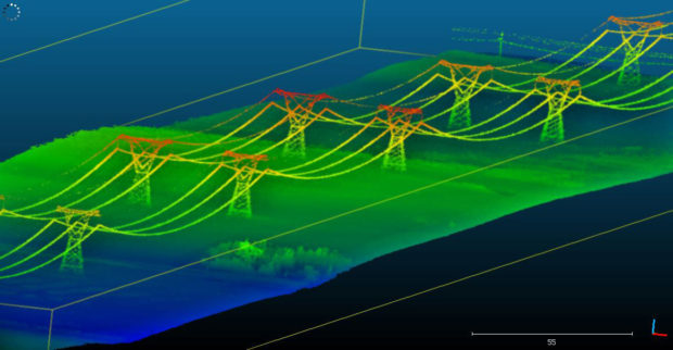 Fig. 3: A 3D model of a powerline taken at 80 m AGL at a groundspeed of 20 m/s.