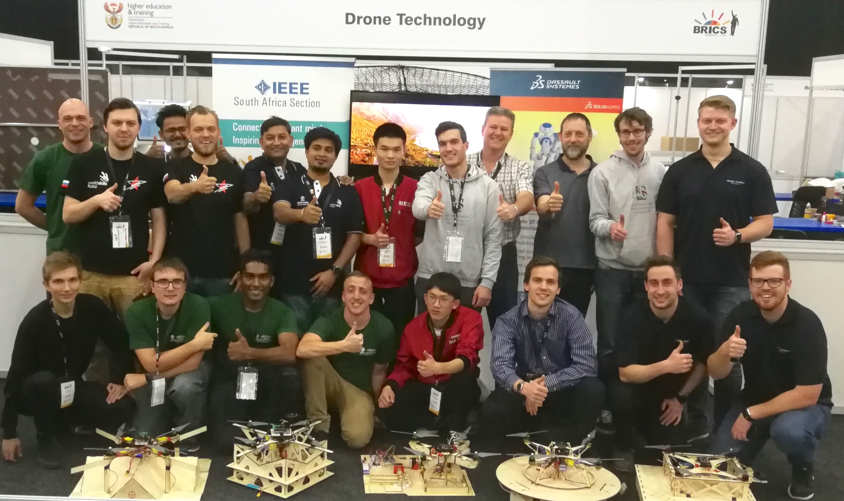 The five teams with their drones.