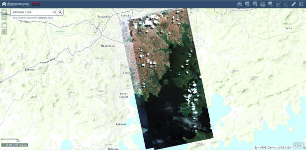 Fig.1: Example of a cloud-based sub-metre imagery service, with a view over Kampala, Uganda.