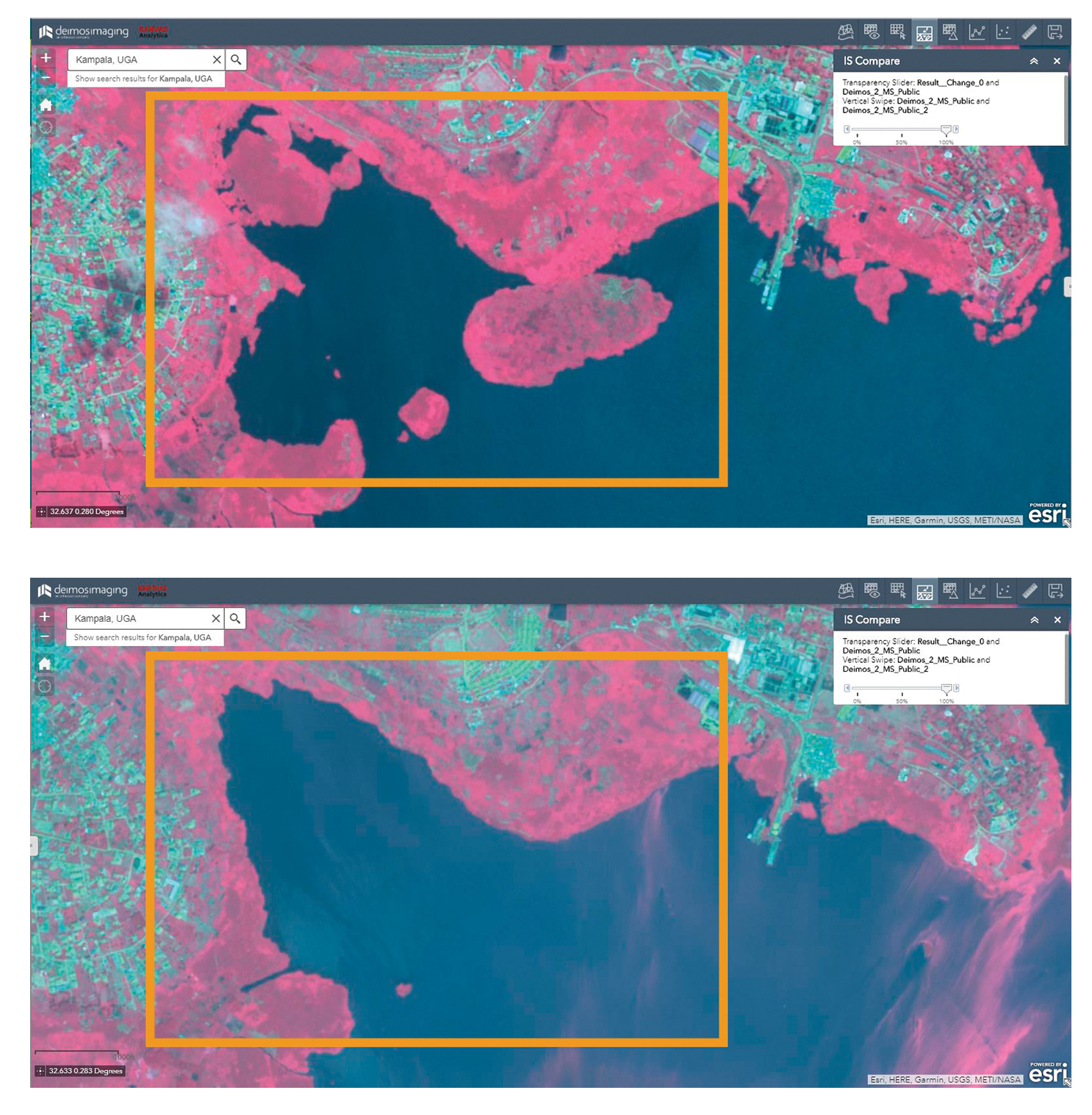 Fig. 2: Change detection using false colours imagery (R,G,NIR), showing changes on wetlands between 2015 (top) and 2018 (bottom).