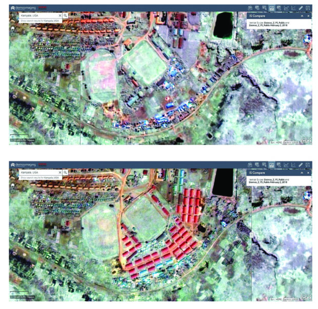 Fig. 3: Comparison over Kampala showing new houses and facilities near the wetlands area between 2015 (top) and 2018 (bottom).