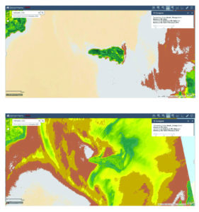 Fig. 4: On-the-fly NDVI calculation shows the presence of vegetation in Inner Murchison Bay, Lake Victoria between 2015 (top) and 2018 (bottom).
