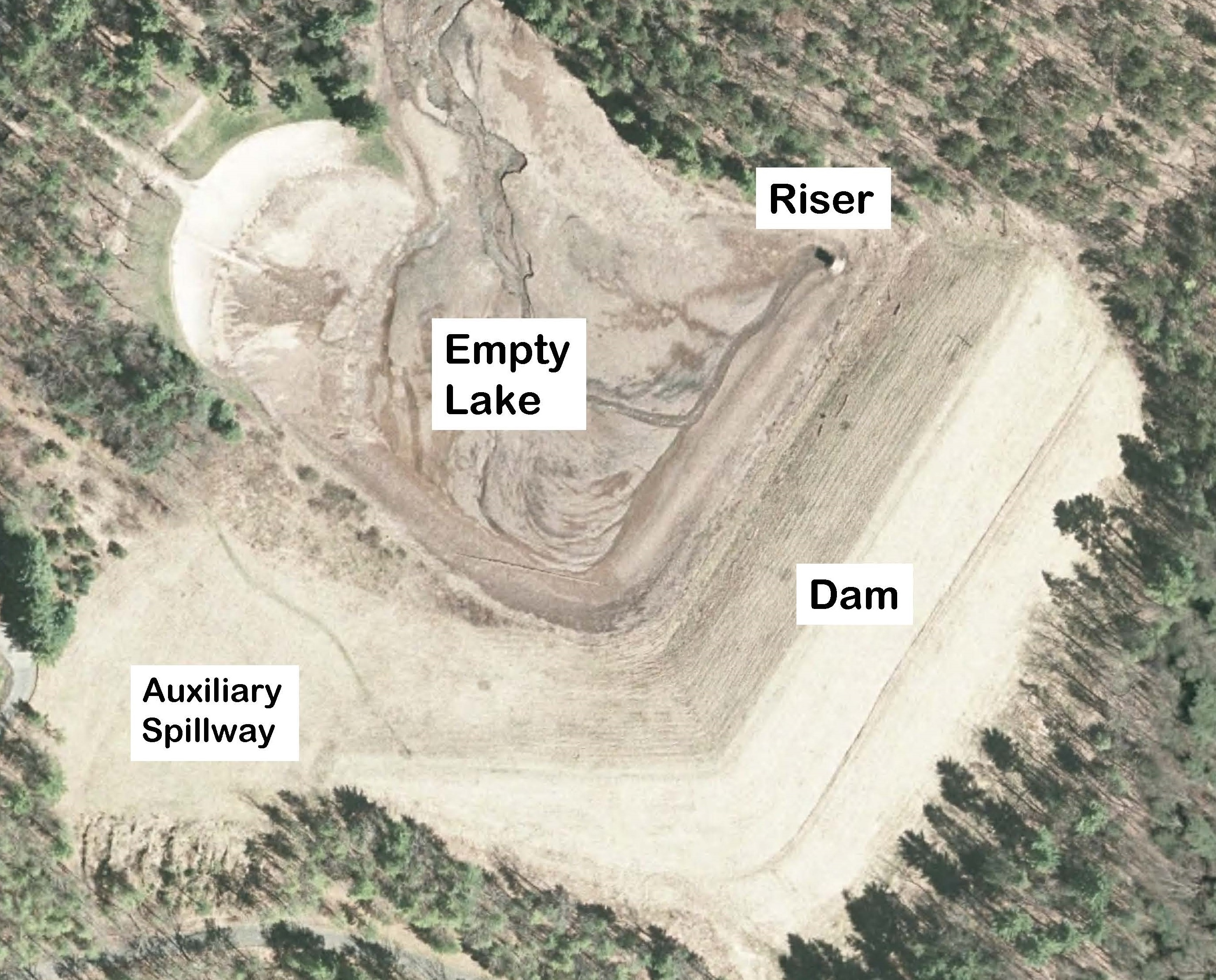 Fig. 1: A plan view of the Todd Lake Dam site.
