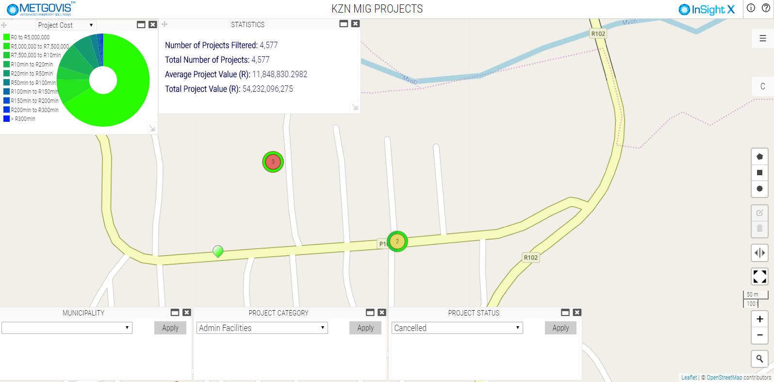 Fig. 2: A dashboard to display the status and progress of Municipal Infrastructure Grant projects.