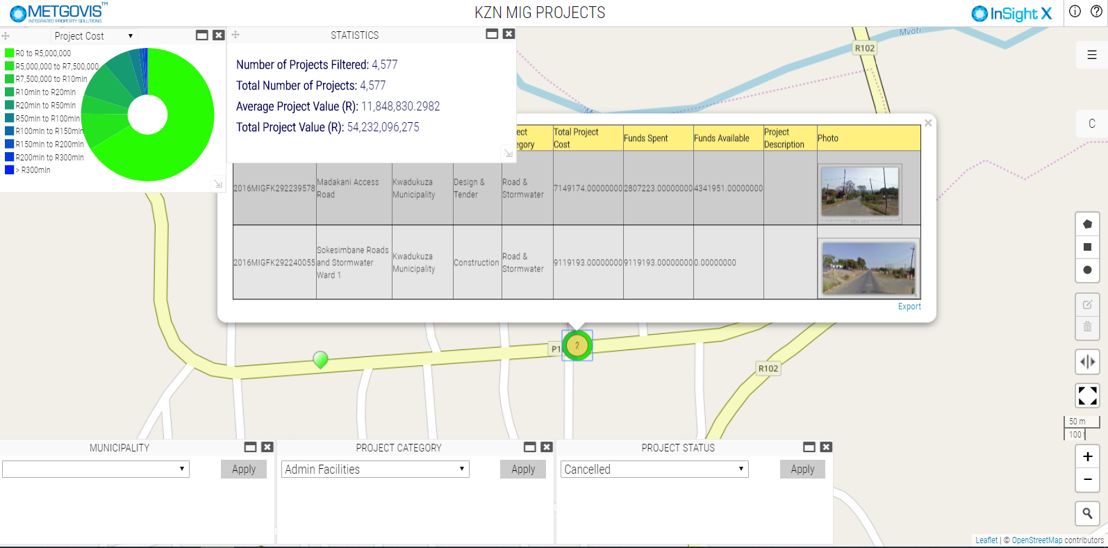 Fig. 3: Dashboard can display valuation and property related information such as the Rates Category and Market Value per property.