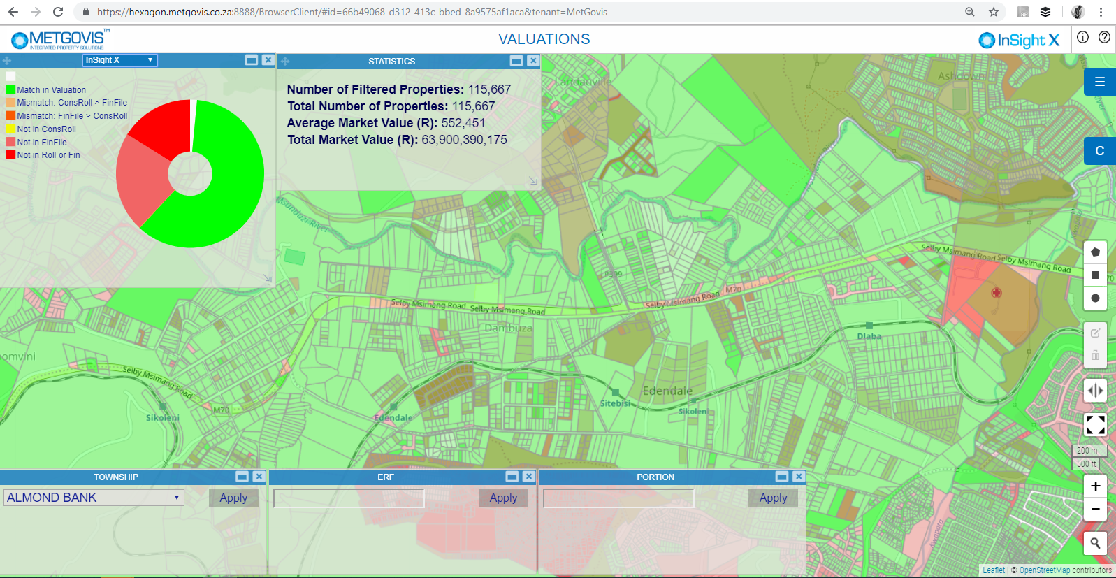 Fig. 4: Overview of the project progress of a general valuation project, highlighting the state of each property.
