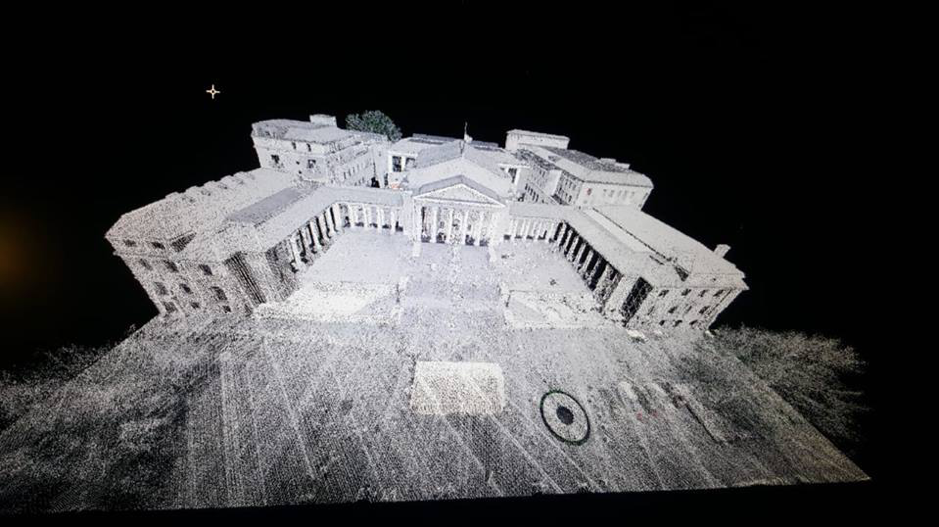 Fig. 4: Point cloud of Memorial Hall, UCT, compiled from terrestrial and aerial lidar.