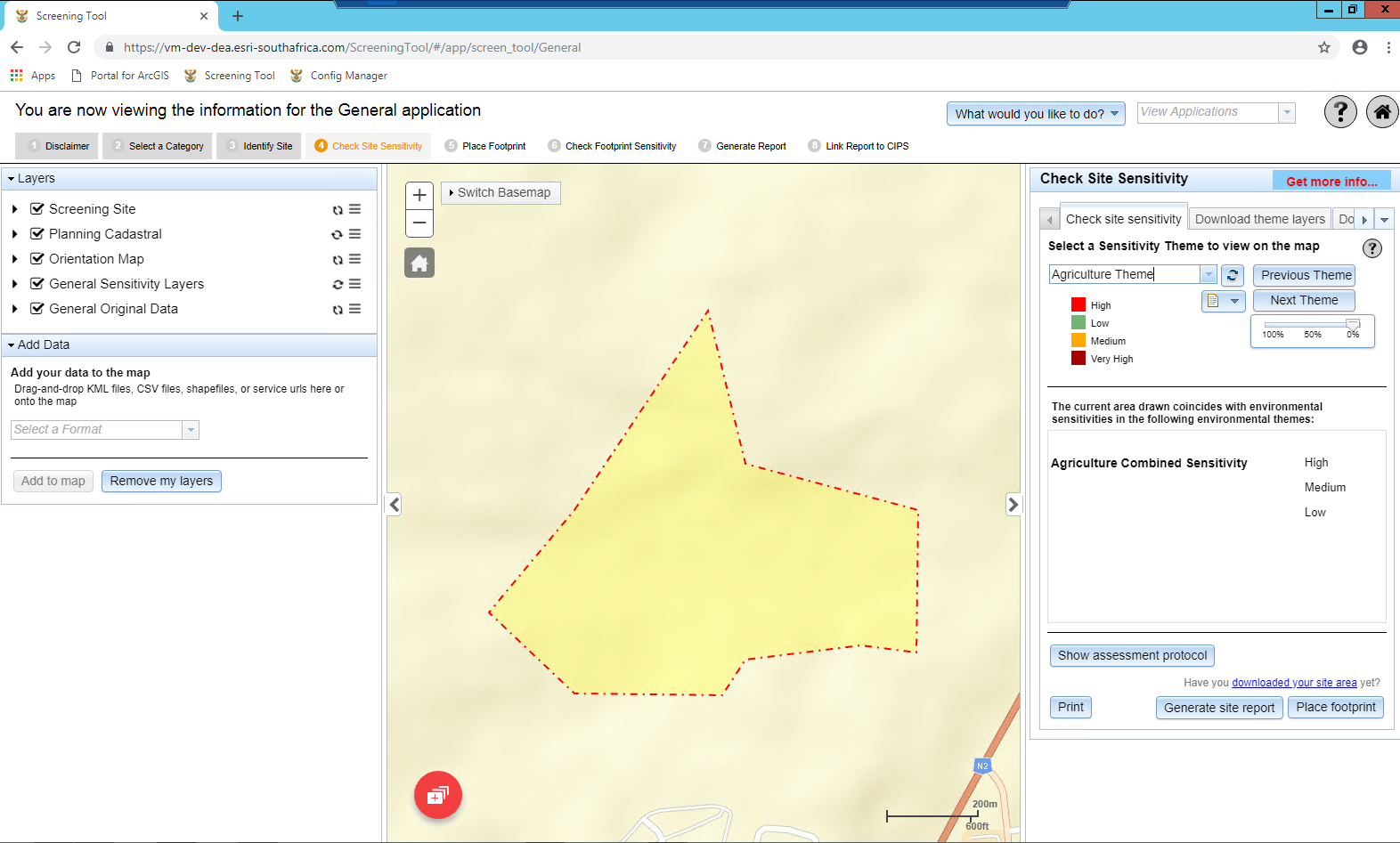 Fig. 2: To identify the site of interest users can either upload their own geospatial data of the site or search it in the right-hand panel.