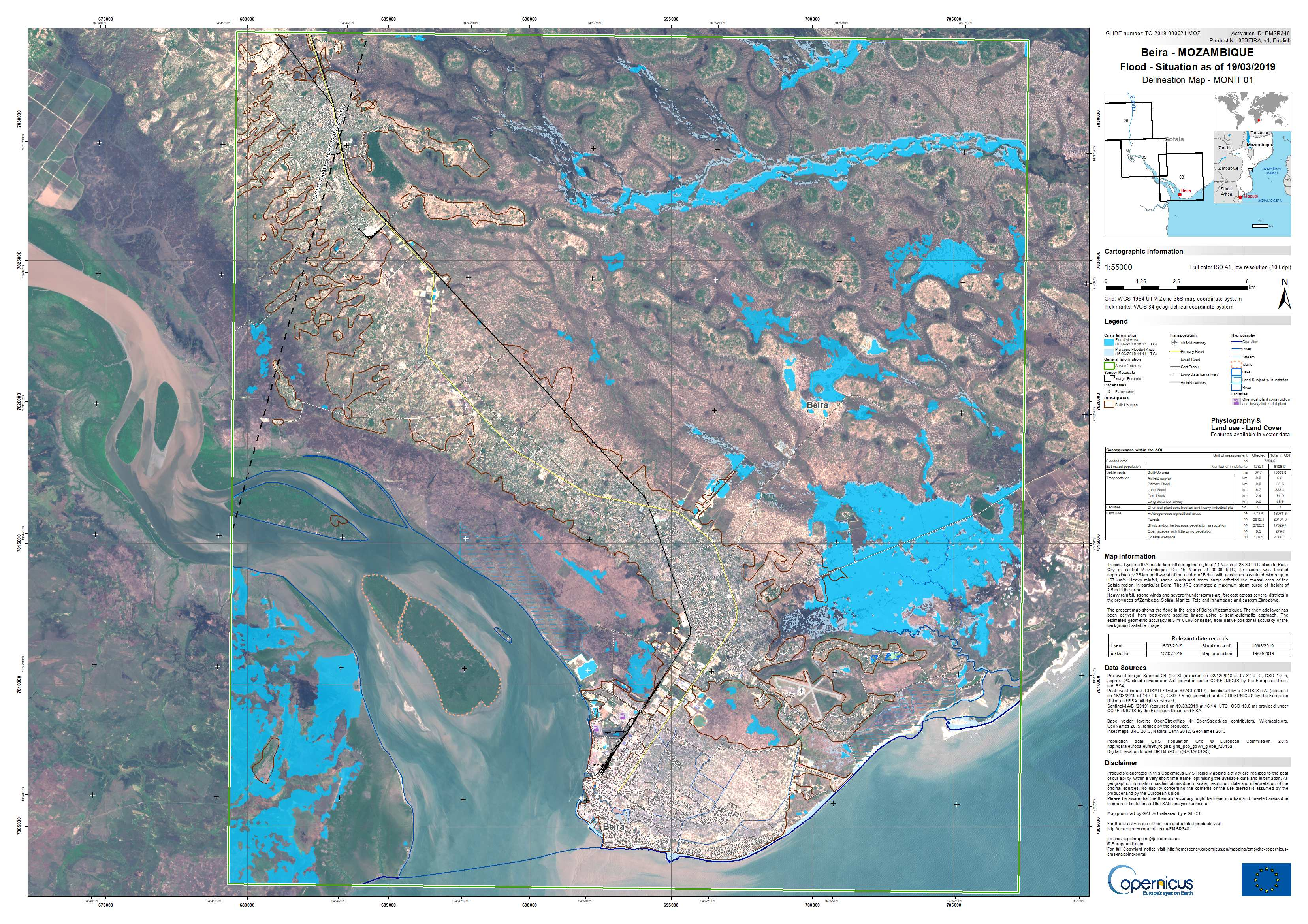 Fig. 3: Copernicus Sentinel-1 maps floods from Idai.