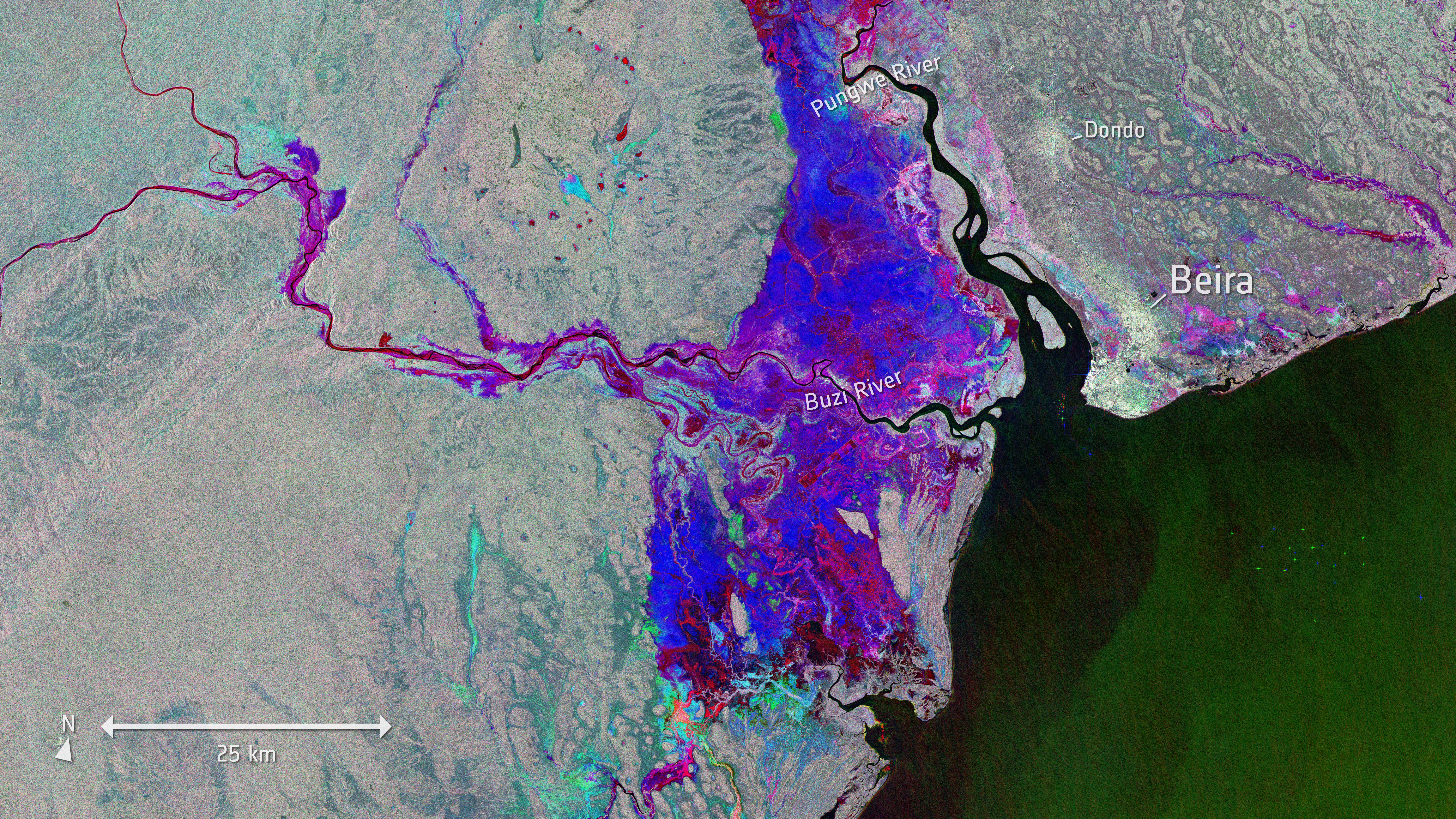 Areas where the flood waters are beginning to recede west of the port city of Beira in Mozambique.
