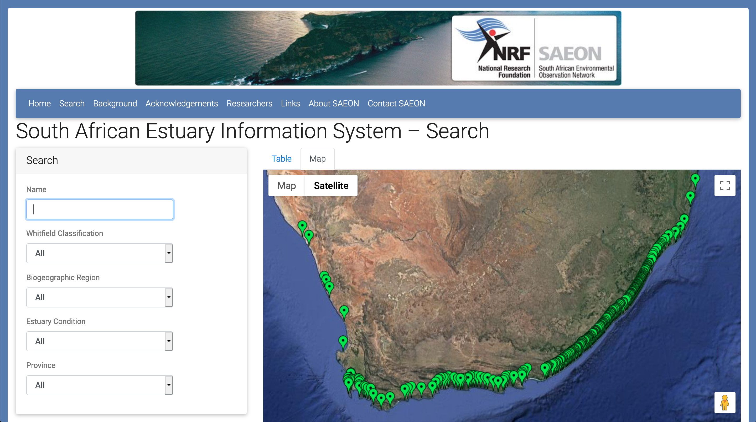 The new South African Estuary Information System (SAEIS).