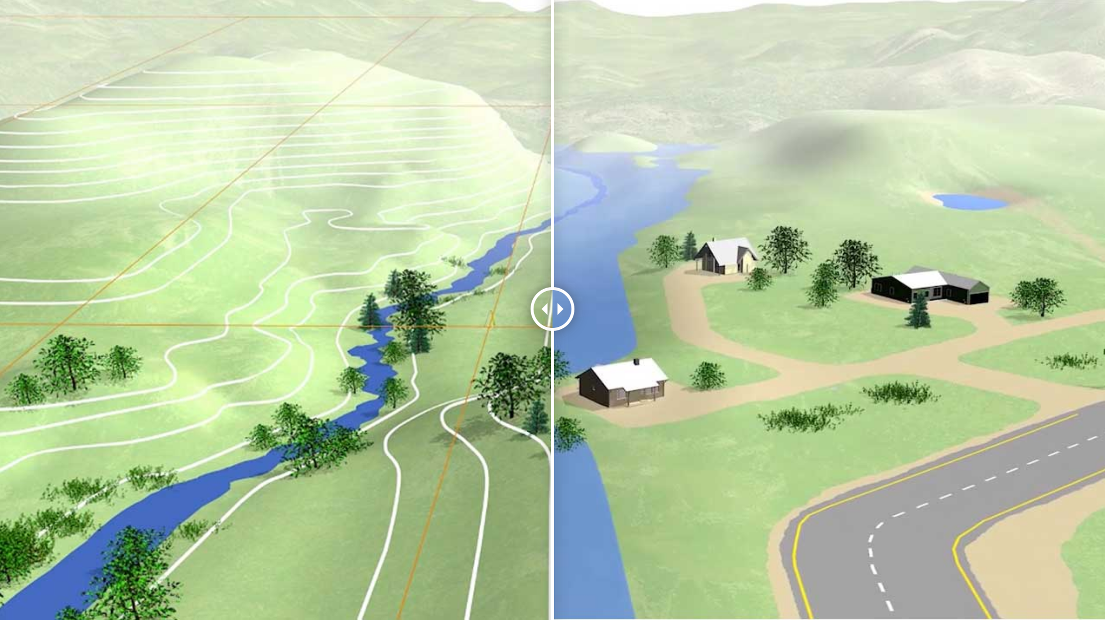 Fig. 1: Visualisation depicting a valley and several houses before and after a flooding event, illustrating how accurate heights are needed to understand how water flows across the land.