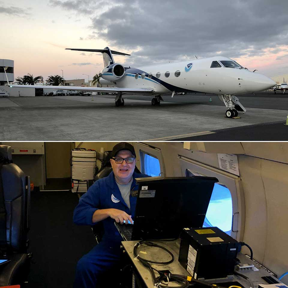 Fig. 3: NGS survey technician Justin Dahlberg collects gravity measurements aboard NOAA's Gulfstream IV aircraft, shown in top image, over the Hawaiian Islands in February 2019.