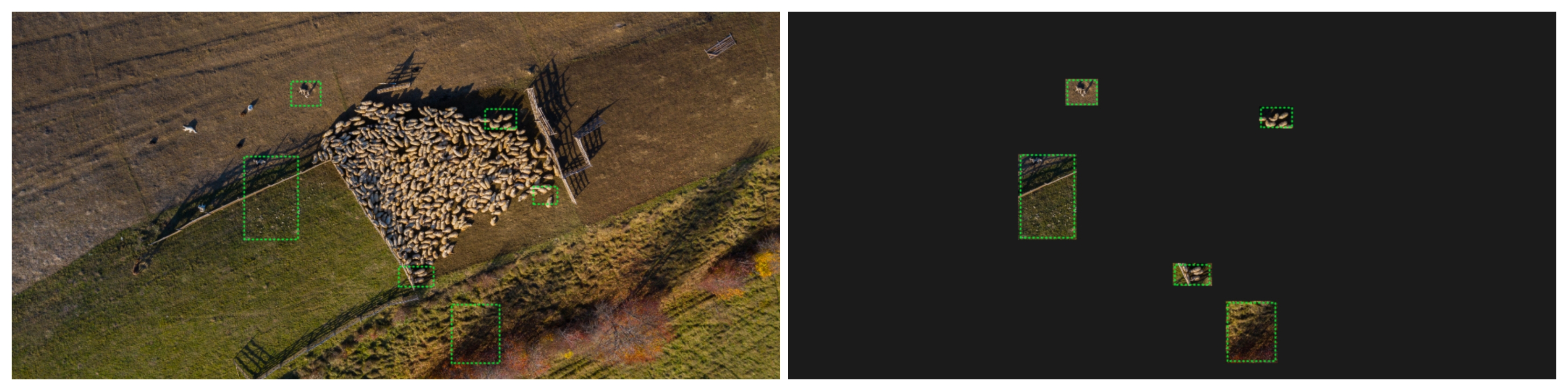 Fig. 4: What humans see (left) vs what the AI model can see (right) once the training areas have been added.