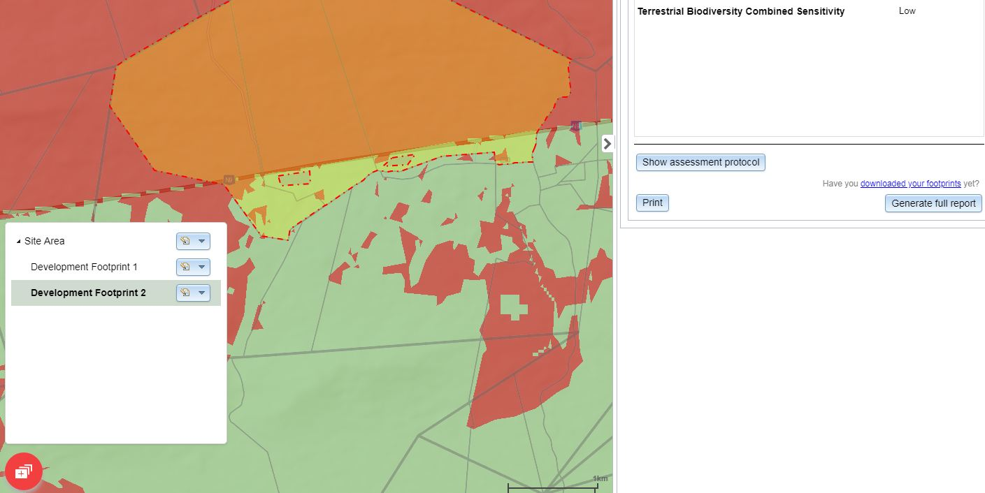 Fig 4: Development footprints are placed within the selected sites, as reports are generated on a per site basis.