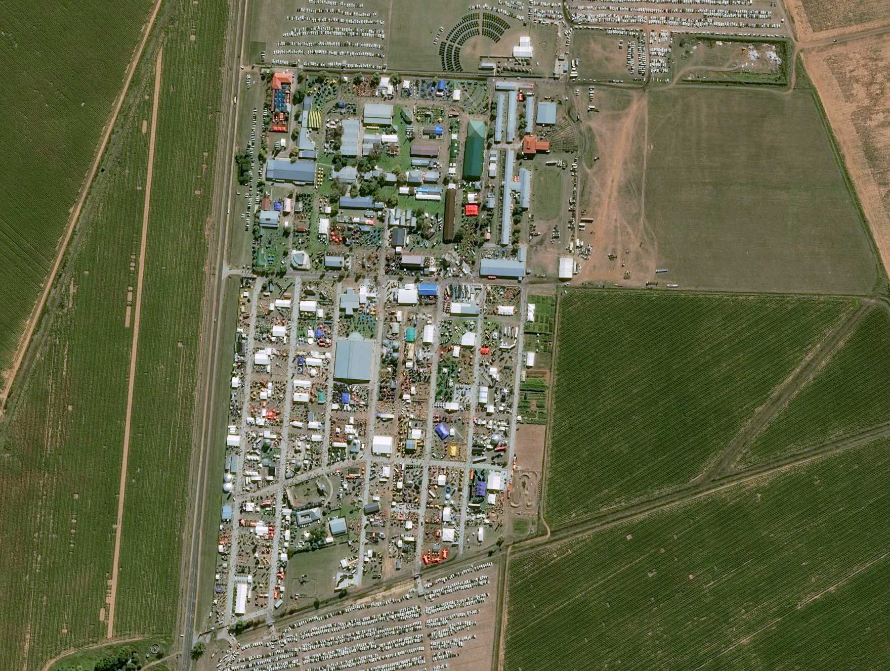 Fig. 1: An Airbus Pleiades satellite image of this year's NAMPO Harvest Day trade fair, Africa's largest agriculture trade expo. (Credit: Cnes 2019)