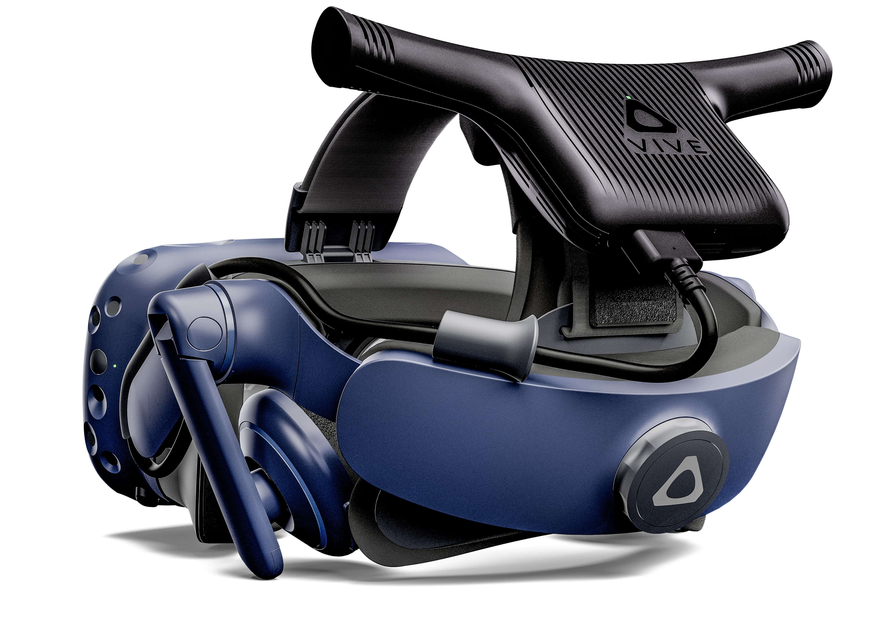 Fig. 3: The wireless adaptor for the Vive Pro removes the need for tethering by wirelessly connecting the headset to the computer [5].