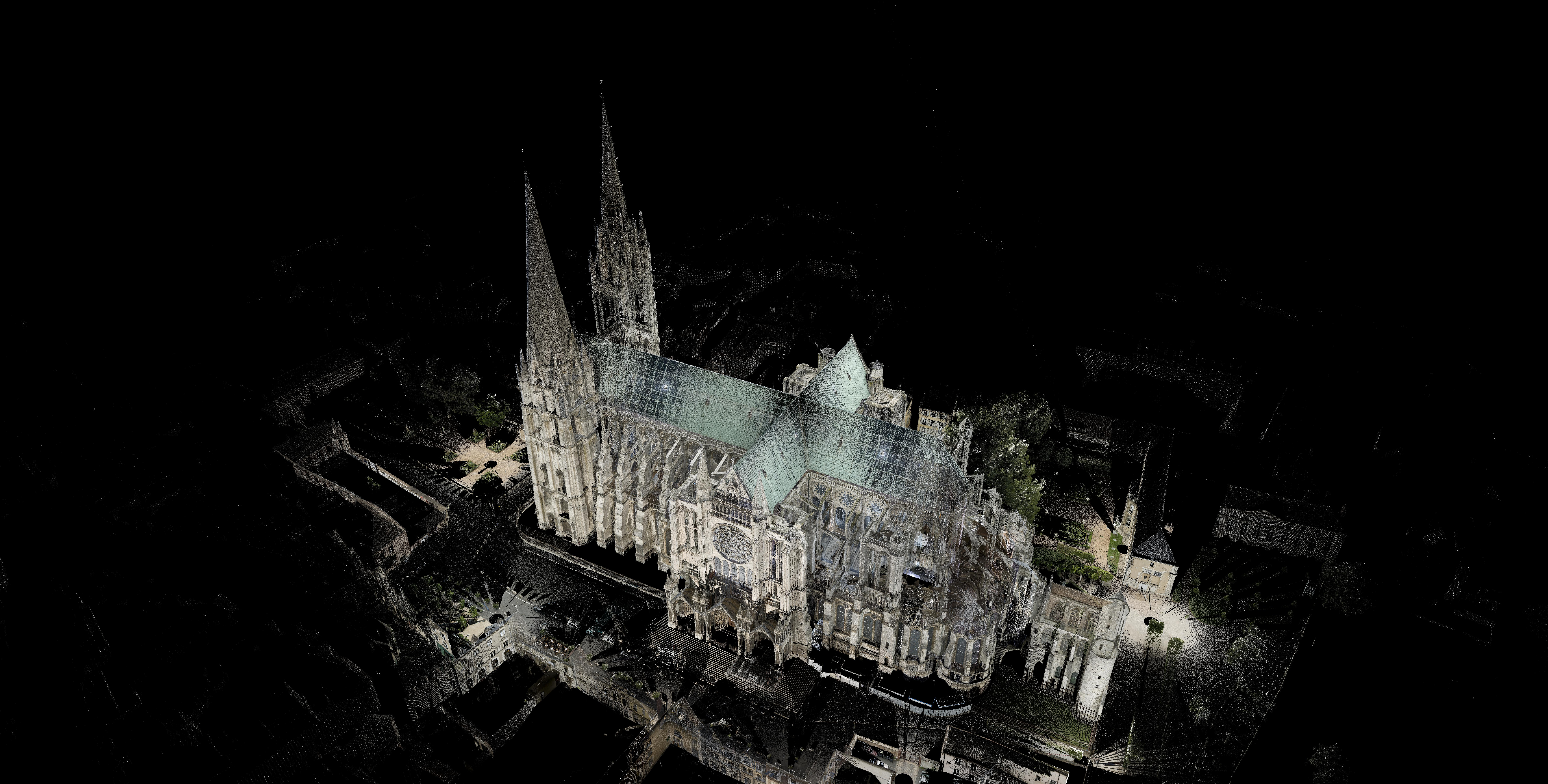 Fig. 1: A bird's eye view of the Chartres laser scan (not unified).